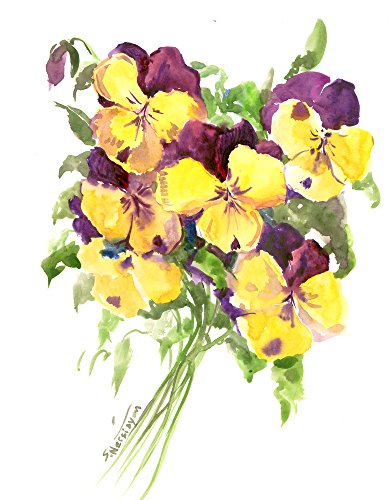 - Pansies, blue yellow pansy flowers artwork, original, one of a kind watercolor painting, flowers artwork pansy flowers