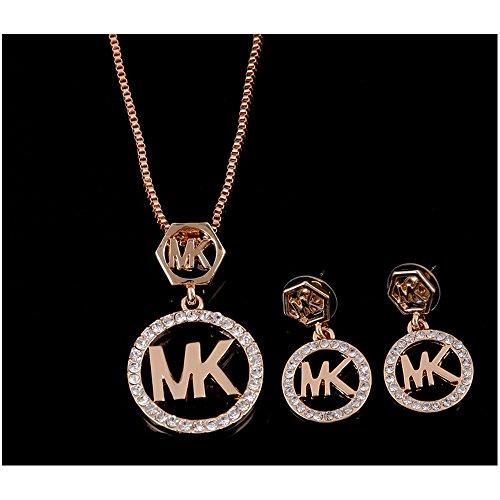 YINLI MK Etched Monogram Disc with Michael Kors Pendant