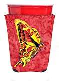 Caroline's Treasures 8862RSC Butterfly on Red Red Solo Cup Beverage Insulator Hugger, Red Solo Cup, multicolor