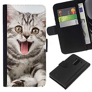 BearCase / Cuero de la tarjeta la carpeta del tirón Smartphone Slots Protección Holder /// LG G3 /// Tongue Cat bostezo Rosa Gris Rayas