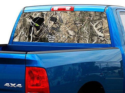 P455 Camo Reaper Bow Hunt Tint Rear Window Decal Wrap Graphic Perforated See Through UNIVERSAL SIZE 65
