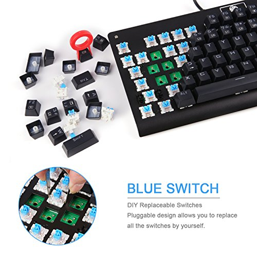 MechanicalEagle Z-77 Mechanical Keyboard with 10-Mode RGB Backlit,Tenkeyless Wired Gaming Keyboard with Blue Switches - DIY Replaceable Switches - Black