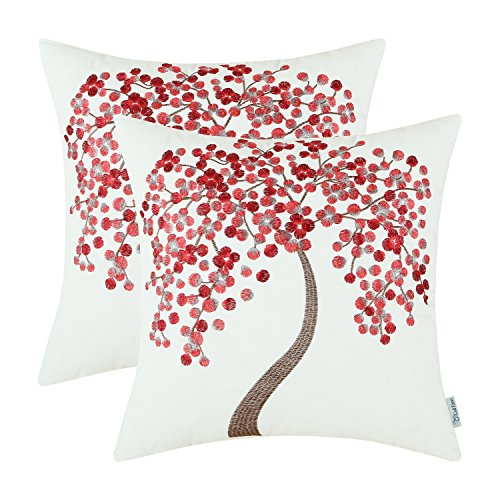 Pack 2, CaliTime Pillow Covers Cotton Canvas Vintage Colorful Tree Embroidered 18 X 18 Inches Main Burgundy