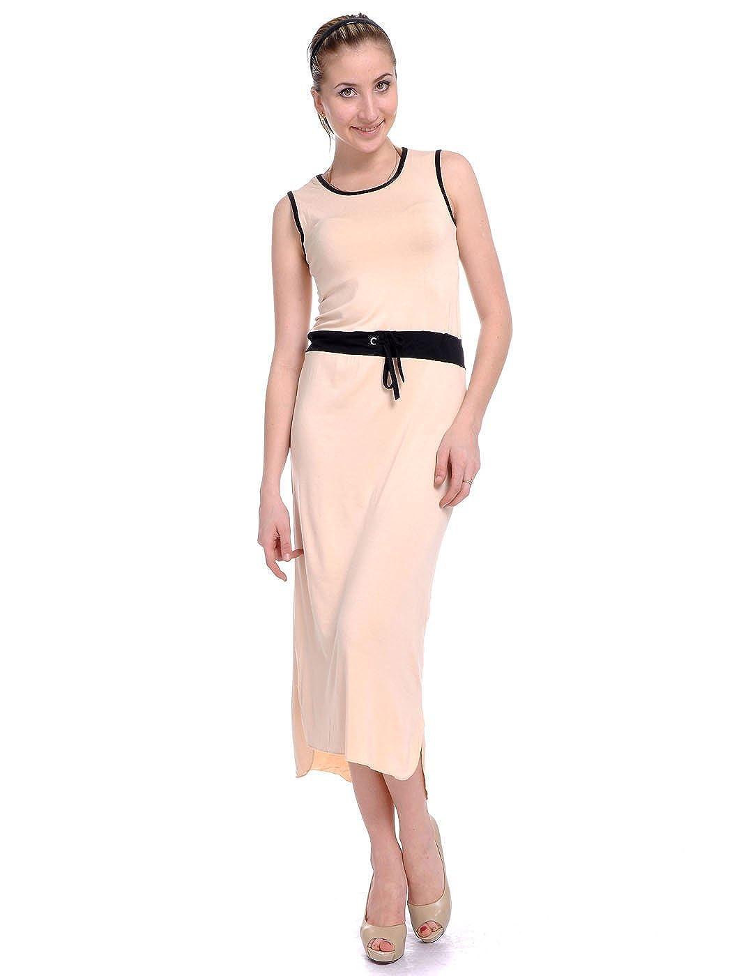 Anna-K S//M Fit Piping Trim Drawstring Waist High Low Hem Dress Beige