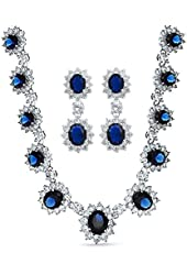 Bling Jewelry Simulated Sapphire CZ Necklace Earring Set Rhodium Plated