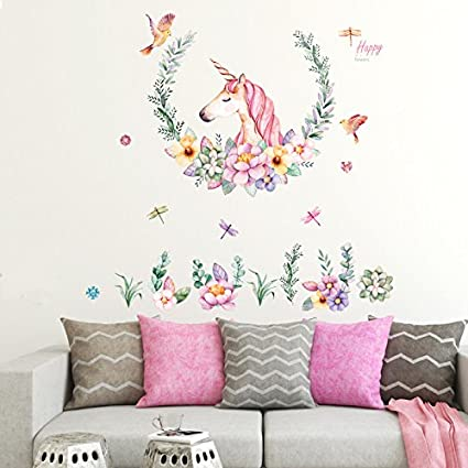 Stwle Wall Stickers Mural Art Decor Removable Waterproof Licorne