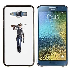 """Be-Star Único Patrón Plástico Duro Fundas Cover Cubre Hard Case Cover Para Samsung Galaxy E7 / SM-E700 ( Arte del animado del vaquero arma de combate de la historieta"""" )"""