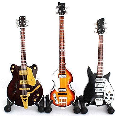 (The Beatles Set of 3 Miniature Guitar Fab Four Super Mini)
