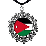 GiftJewelryShop Ancient Style Silver Plate Jordan flag Christmas Wreath Charm Pendant Necklace