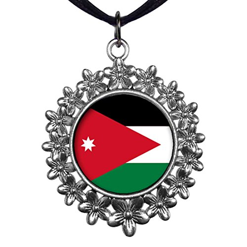 GiftJewelryShop Ancient Style Silver Plate Jordan flag Christmas Wreath Charm Pendant Necklace by GiftJewelryShop