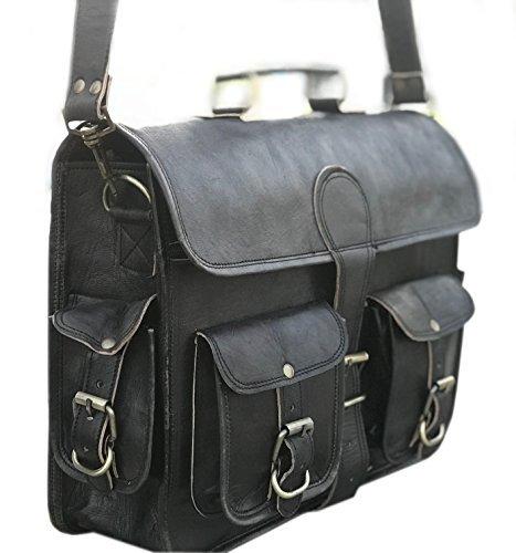 Black leather messenger bags for men women mens briefcase laptop bag best computer shoulder satchel school distressed bag