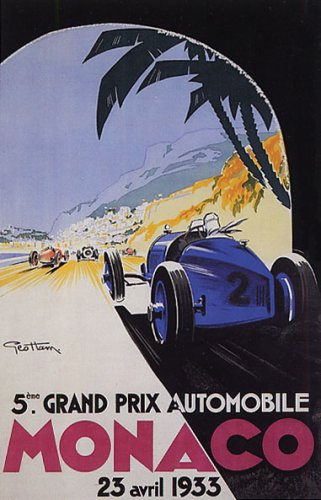 1933 Car Race 5 Grand Prix Monaco Streets Automobile Vintage Poster Repro