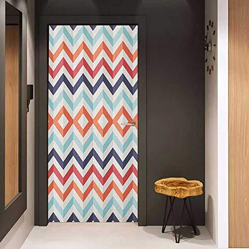 Door Wall Sticker Geometric Zig Zag Lines Chevron Stripes Going Up and Down with Optic Effect Image Mural Wallpaper W38.5 x H79 Blue Orange Red