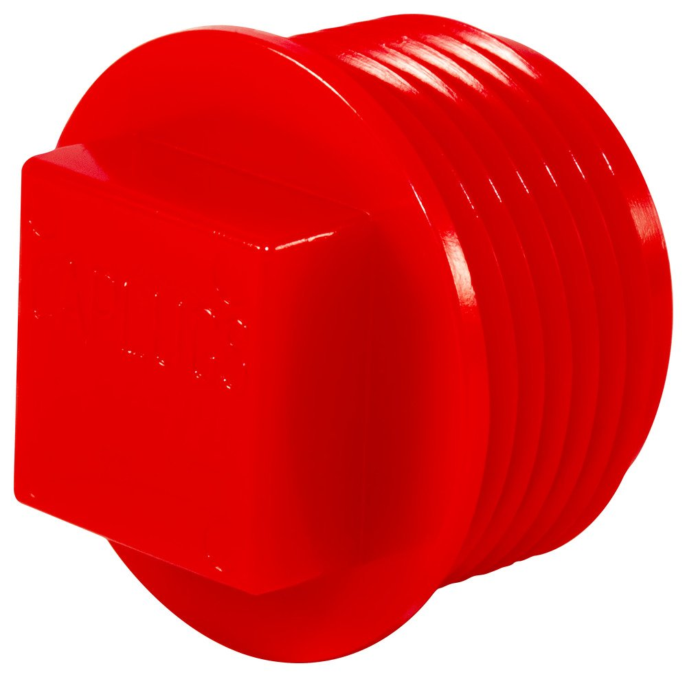 Caplugs 99191161 Plastic Threaded Plug for Pipe Fittings. P-88H, PE-HD, to Plug Thread Size 1 NPT'', Red (Pack of 200)