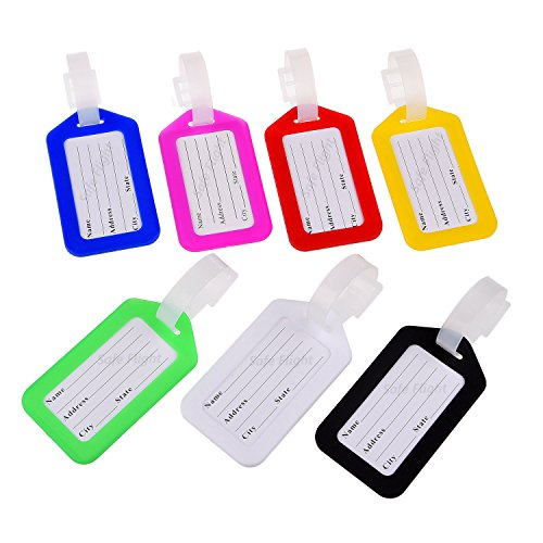 Set of Luggage Tags with Address Cards by Safe Flight - 7 Different Colors - Perfect to Quickly Spot Your Luggage - Adjustable Strap - Durable and Strong - Makes Traveling Easier, Safer and Secure