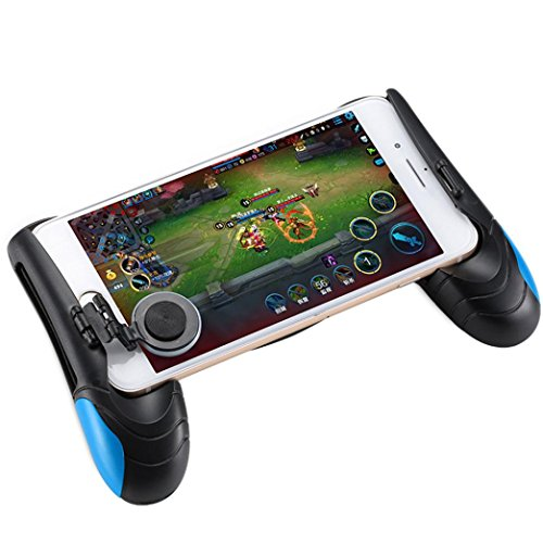 Game Controller,Hongxin Phone Game Mount Bracket Gamepad Hand Grip Clip Stand For Iphone X 8 7 Samsung S8 Plus Gaming Handle Holder For PUBG Game Controller Mobile Joystick Handle Holder (Blue) by Hongxin