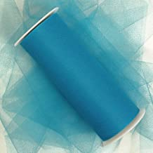 Premium Colored Tulle - Nylon Tulle Ribbon - 25 Yards (6 Inches, Turquoise Blue Green)
