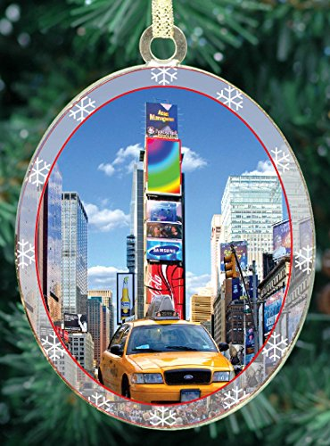 New York City Christmas Ornament - Times Square Taxi - Christmas Tree Ornament from Christmas in New York Collection - Doublesided with - York City Christmas New Trees