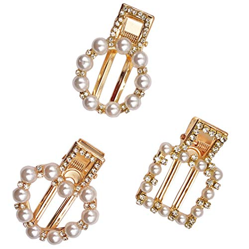 Messen 3 Pieces Artificial Pearl Rhinestones Hair Pins Geometric Hair Barrettes Heart/Circle/Square Decorative Bridal Hair Clips Handmade Gold Hair Accessories for Girls Women ()