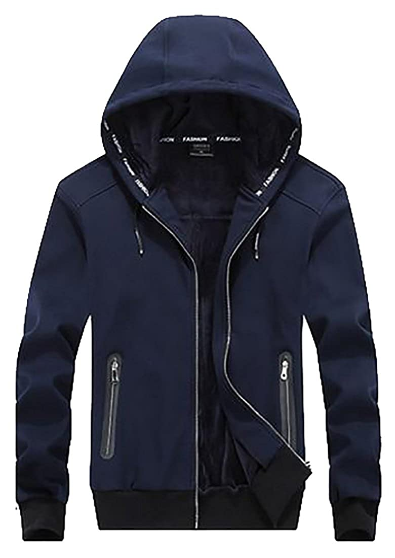 blueee US Large Papijam Mens Casual Plus Size Soft Thicken Drawstring Winter Hooded Jacket