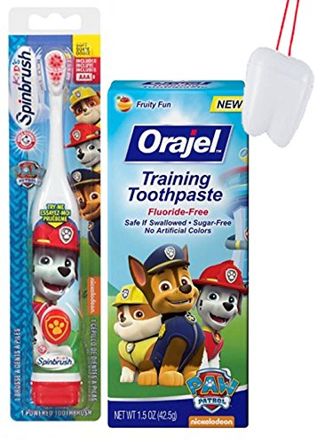 """Paw Patrol """"Marshall Let's Fire It Up"""" 2pc. Little Pup's Oral Hygiene Set! Paw Patrol Turbo Power Spin Toothbrush & Fluoride Free Training Toothpaste! Plus Bonus Tooth Saver Visual Aid!"""