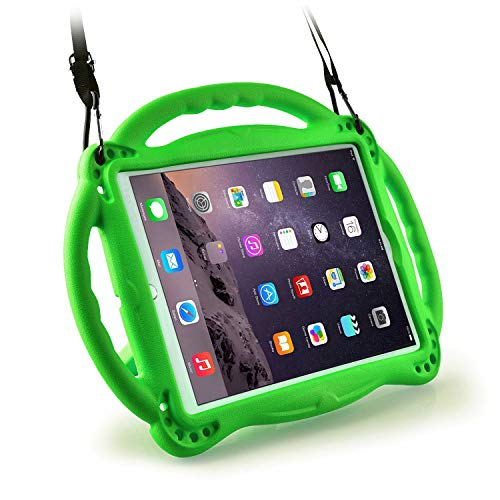 AVAWO Kids Case with Shoulder Strap for New iPad 9.7 2018/2017- Light Weight Shock Proof Handle Stand Friendly Kids Case for Apple iPad 9.7-inch 6th & 5th Generation - Green