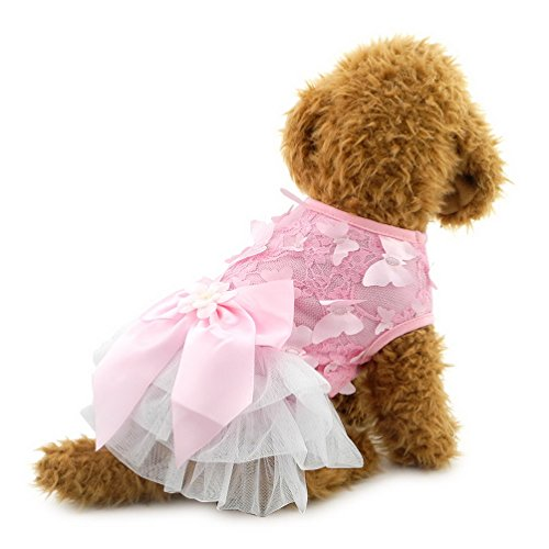 Butterfly Armoire - SELMAI Pet Princess Tutu Dress for Small Dog Butterfly Party Floral Skirts with Bow Yorkie Clothes Pink S