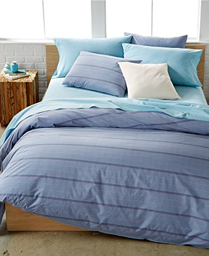 Calvin Klein Washed Essentials Color Wash Queen Duvet Cover Set Grid Wisteria - Duvet Cover Set Wisteria