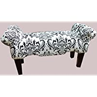 Black and White Filigree Traditions Vanity Rolled Arm Bedroom Bench Medium