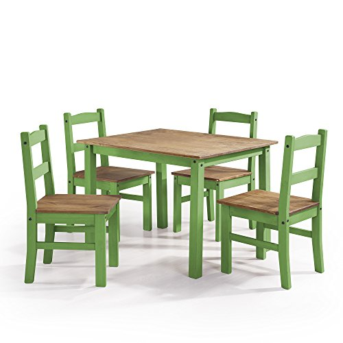 Manhattan Comfort York Collection Reclaimed and Modern 5 Piece Pine Wood Dining Set with 4 Chairs and 1 Table, Green/Wood