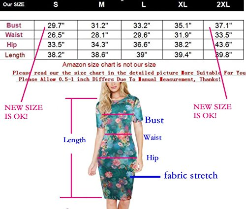 Bodycon Knees Sleeve Pencil Stretch Women's Length Short HELYO Business Blue Slim Dress Print Floral 223 IU0qxPC