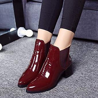 Geili Kurze Damen Stiefel Elastisch Stiefeletten Modische Lackstiefel mit Blockabsatz Frauen Gef/üttert Wasserdicht Winterstiefel Lederstiefel Boots