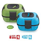 Lunch Box ~ Pinnacle Insulated Leak Proof Lunch Box for Adults and Kids - Thermal Lunch Container With NEW Heat Release Valve ~Set of 2~Blue/Green 16 oz ea