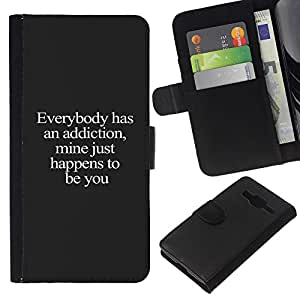 Planetar® Modelo colorido cuero carpeta tirón caso cubierta piel Holster Funda protección Samsung Galaxy Core Prime ( Addiction You Love Text Cute Sweet Text )