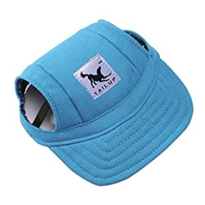 Happy Hours - Dog Pet Cat Canvas Oxford Fabric Hat Sports Baseball Cap Ear Holes Sunhat With Adjustable Neck Elastic Leather Rope Strap 6 Colors 2 Sizes Available (Blue, Size M)