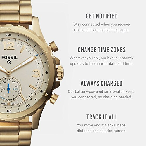 51CsdyIfclL - Fossil Q Men's Nate Stainless Steel Hybrid Smartwatch, Color: Gold-Tone (Model: FTW1142)