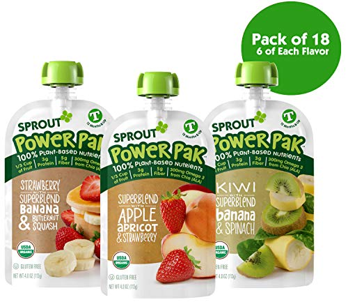 (Sprout Organic Stage 4 Toddler Food Power Pak Pouches, Variety Pack, 4 Ounce (Pack of 18) 6 of Each Superblend: Strawberry Banana Butternut, Apple Apricot Strawberry & Kiwi Banana Spinach)