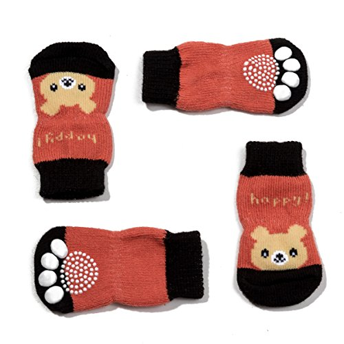 Knit Dog Booties - Pet Heroic Anti-Slip Knit Dog Socks&Cat Socks with Rubber Reinforcement, Anti-Slip Knit Dog Paw Protector&Cat Paw Protector for Indoor Wear, Suitable for Small&Medium&Large Dogs&Cats