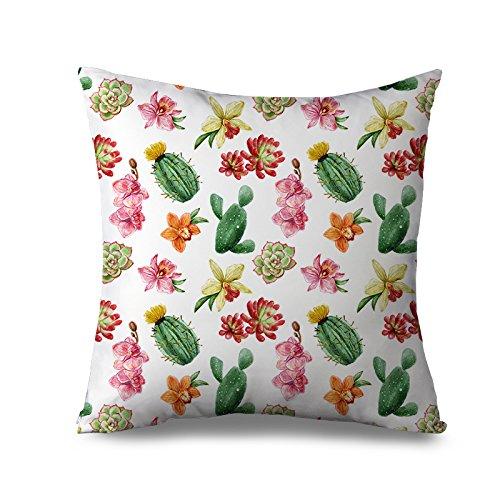 Cactus cojín funda para sofá blanco cuadrado de flores funda ...