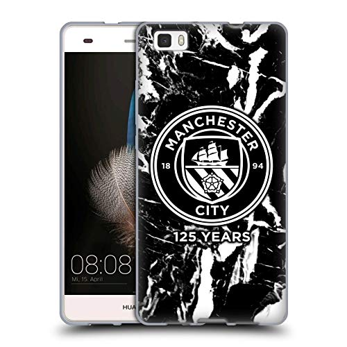 Official Manchester City Man City FC Black Marble 125 Year Anniversary Soft Gel Case for Huawei P8lite / ALE-L21