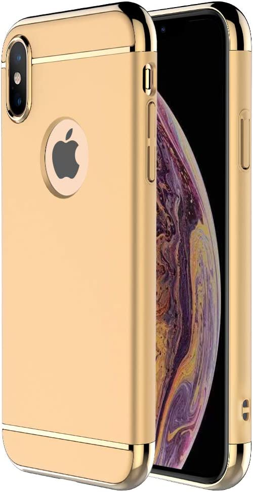 iPhone X Case,iPhone Xs Case,RORSOU 3 in 1 Ultra Thin and Slim Hard Case Coated Non Slip Matte Surface with Electroplate Frame for Apple iPhone X/Xs (5.8