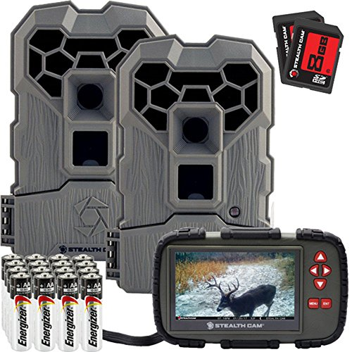 Stealth Cam QS14 FX Shield 14MP Trail Camera - 2 Pack Combo with Card Viewer