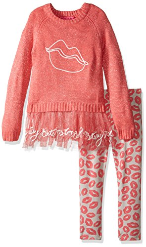 Betsey Johnson Little Girls' 2 Piece Lurex Sweater Set Kiss, Coral, 5 - Betsey Johnson 2 Piece