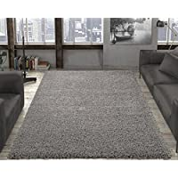 Ottomanson Soft Cozy Color Solid Shag Area Rug Contemporary Living and Bedroom Soft Shag Area Rug, Grey, 710 L x 910 W