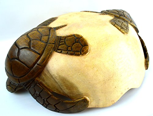 Hand Carved Two Tone Mahogany Wood Nautical Turtle Bowl by WorldBazzar (Image #2)