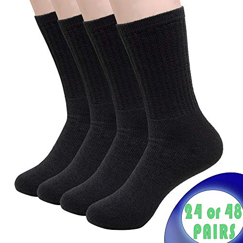 24 Pair - Bulk Case of Wholesale Unisex Men's & Womens Athletic Crew Socks in Black (Size ()