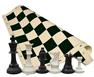 "Tournament Chess Set - Chess Pieces - Black Chess Board - 34 Pieces (2 Extra Queens) - 3.75"" King"