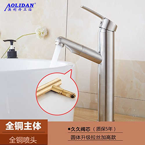 SADASD Contemporary Bathroom Full Copper Basin Faucet Pull Scalable Rounded Brushed Plus High-Sprinklers For Drawing Basin Sink Mixer Tap Ceramic Valve Single Hole Single Handle Cold Water With G1 2 Hose