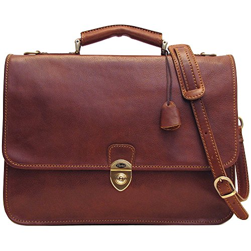 Floto Leather Briefcase Messenger Bag in Brown Italian ()