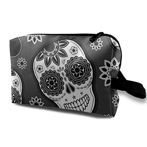 Halloween Sugar Skull Grey Flower Multi-function Travel Makeup Toiletry Coin Bag -